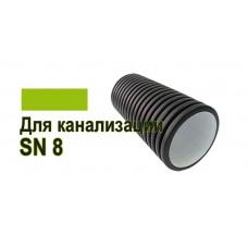 Двухслойная гофрированная труба ПНД Корсис D 110 мм, SN8 для канализации
